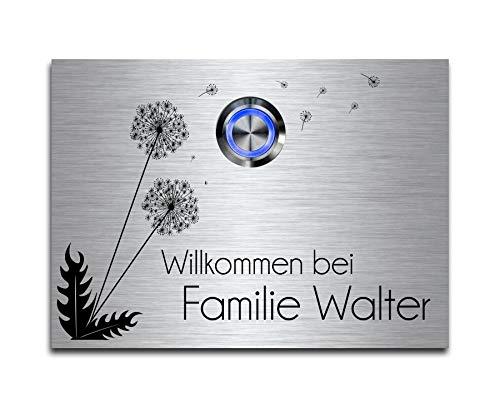 CHRISCK design - Edelstahl Türklingel mit Wunsch-Gravur Led-Beleuchtung und Motive 11x8 cm Klingel-Taster Namen Modell: Walter-P