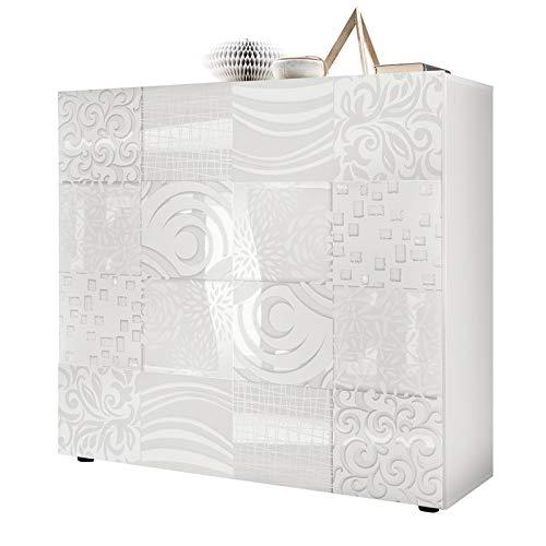 Tousmesmeubles Vaisselier 2 Portes Laqué Blanc Brillant - Bari - L 121 x l 42 x H 111 - Neuf