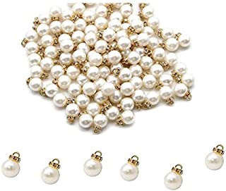 LASSUM 25 Pcs Faux Pearl Flat Pin Charms Beads Pendants DIY Jewelry Making Findings