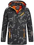 [page_title]-Geographical Norway Herren Softshell Outdoor Jacke Rainman/Royaute Camo Turbo-Dry Kapuze Black/orange XL