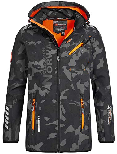 Geographical Norway Herren Softshell Outdoor Jacke Rainman/Royaute Camo Turbo-Dry Kapuze Black/orange M
