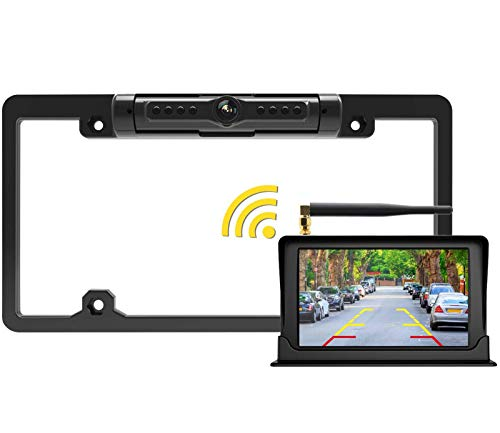 FOOKOO 2ND Wireless Backup Camera with 5 inch HD Monitor License Plate Backup Camera with Frame for Car SUV Truck Pickup Rear View Camera with Parking Lines IP69K Waterproof