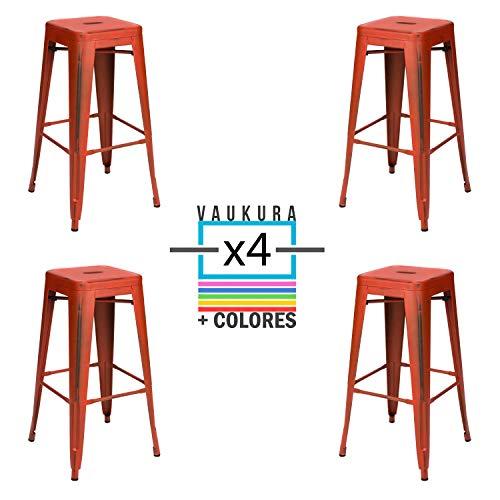 Vaukura Taburete Alto Tolix (Pack 4) - Taburete Industrial Metálico Vintage (Rojo)