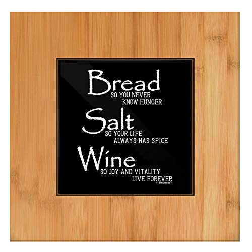 Housewarming Gift for Women Bread Salt Wine Housewarming Gift Ceramic Trivet Tile and Wood Trivet