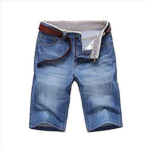 Nicwagrl Men's Shorts, Men's Denim Shorts Short Jeans Men Cotton Solid Straight Short Jeans Male Blue Casual Short Jeans (Color : Light Blue, Size : 30)