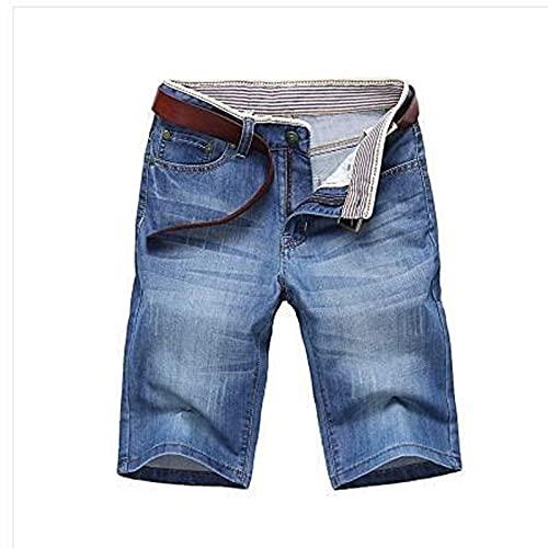 YUZHUKUNGMZNSDK Pantalones Cortos Hombre, Pantalones Cortos de Mezclilla para Hombres Jeans Cortos Hombres algodón sólido Jeans Corto Recto Masculino Azul Casual Pantalones Vaqueros c