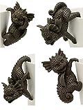MystiCalls Juego de 4 figuras de jardín, dragones colgantes para macetas, diseño de fantasía...