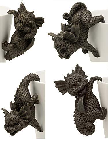 MystiCalls Gartenfiguren Gartendrachen - Blumentopfhänger 4er-Set - Fantasy Figur Deko Drache Garten - #