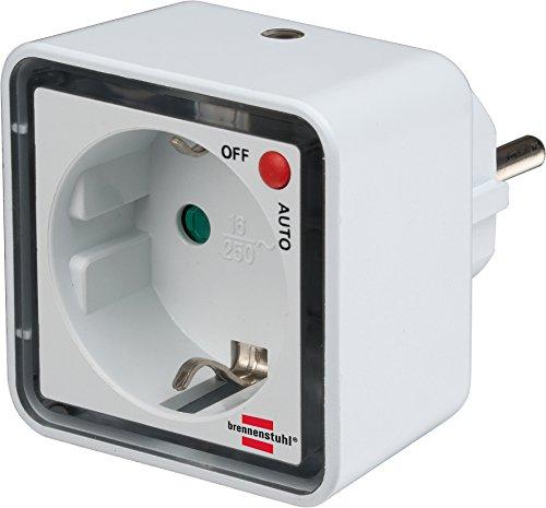 Brennenstuhl LED-Nachtlicht / Orientierungslicht mit Dämmungssensor für die Steckdose mit Auto/Aus Schalter (inkl. Steckdose mit erhöhtem Berührungsschutz) weiß