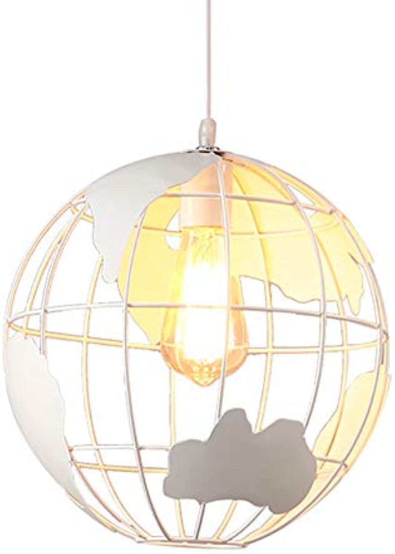 Kronleuchter Vintage Retro Eisenkugel Form Lampe E27 Deckenleuchte Pendelleuchte Leuchte für Restaurant Wohnzimmer Schlafzimmer, wei,20cm
