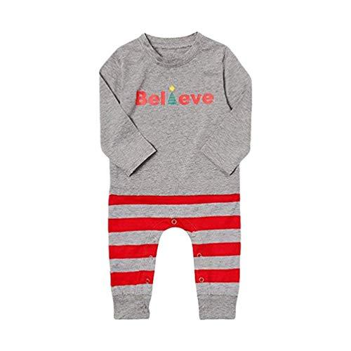 YOUJIAA Parent-Enfant Ensemble Pyjama Noël Imprimé Hauts + Rayé Pantalon 2Pcs Famille Hiver Homewear (Bébé | Gris, CN 9M)