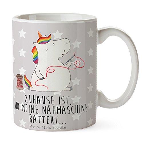 Mr. & Mrs. Panda Becher, Kaffeebecher, Tasse Einhorn Näherin mit Spruch - Farbe Grau Pastell