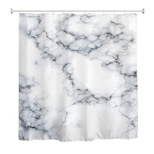 Oduo Duschvorhänge für Badewanne, 3D Marmor Marmorierung Drucken Duschvorhang Wasserdicht Antischimmel Bad Vorhang Waschbar Badewanne Vorhang mit 10-12 Duschvorhangringe (Weiß,90x180cm)