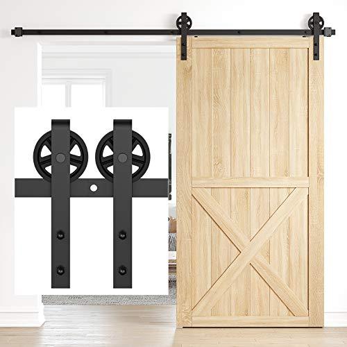 HomLux 8FT Heavy Duty Barn Door Hardware Kit, Sliding Barn Door Hardware Kit for Wood Single Barn Door, Fit 1 3/8-1 3/4' Thickness & 48' Wide Door Panel, Black, Industrial Big Wheel J Hangers