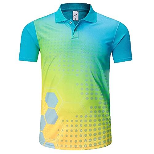 MJDSVWCS Ropa Deportiva Camisa de bádminton Transpirable seco rápido, Mujeres/Hombres Tenis de Mesa de Tenis Entrenamiento para Correr Deportivo Camisetas Cyan L