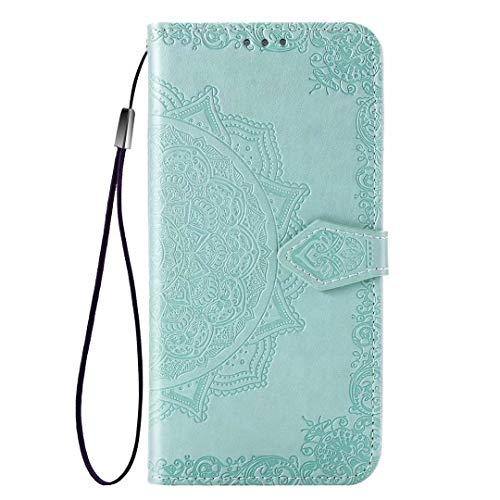 YIKLA Funda para Xiaomi Mi 11 Pro, Mandala Folio PU/TPU Cuero Wallet Case, Diseño con Ranuras para Tarjetas, Cierre Magnético, Premium Flip Wallet Cover - Verde