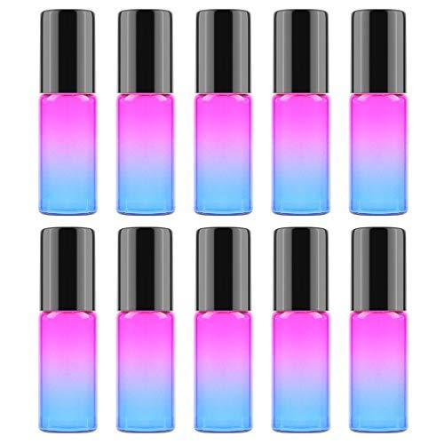 Kapmore Roll On glazen flessen 10 stuks glazen roller fles set 0,17 oz roll-on fles etherische olie roller fles Rose Red&blue