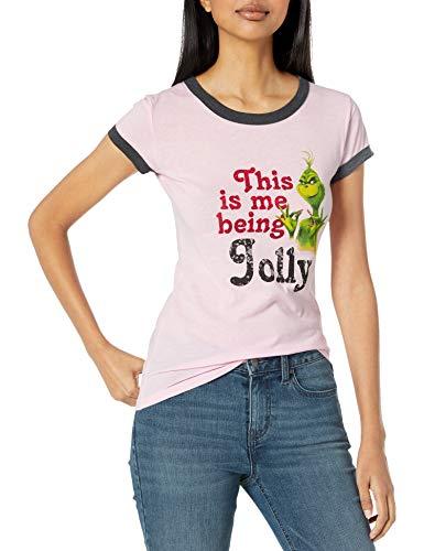 Grinch = Dr. Seuss Women's Grinch Movie Stolen Christmas Ringer T, pink/charcoal, Large