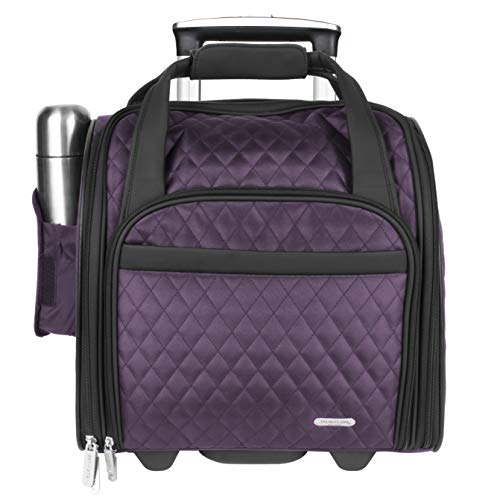Travelon Luggage Wheeled Underseat Carry-On With Back-Up Bag In Quilted Microfiber, Eggplant, Small