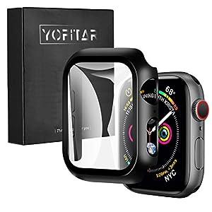 【2021改良モデル】YOFITAR Apple Watch 用 ケース series6/SE/5/4 44mm アップルウォッチ保護カバー ガラスフィルム 一体型 PC素材 全面保護 超薄型 装着簡単 耐衝撃 高透過率 指紋防止 傷防止 ブラック