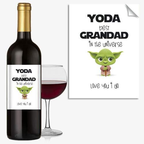 Weinflaschenetikett Happy Birthday YODA Best Grandad Star Wars Lustig Rude #1062