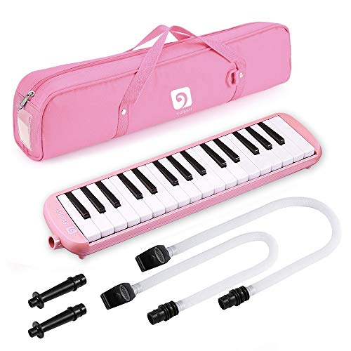 Vangoa Melodica 32 Key Pianica Pink Portable Melodicas with Key Stickers, Wipe Cloth, Double Mouthpieces Tubes and Carrying Bag for Kids Beginners Adults Gift