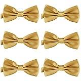 DonDon Set de 6 Pajarita para hombre de 12 x 6 cm ajustable y lista para usar Oro