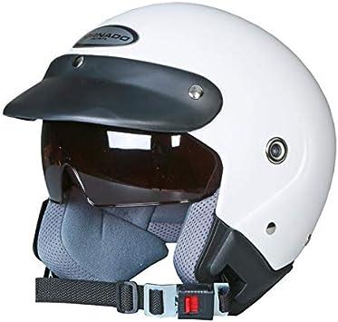 Saferide Helm Motorrad Mit Sonnenblende Matt Weiß Xl 61 62 Cm Rollerhelm Quad Damen Herren Roller Motorradhelm Regenschutz Jugendliche Schutzhelm Sturzhelm Erwachsene Moped Mofa Auto