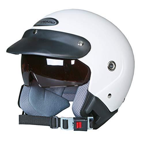 Saferide | Helm Motorrad Mit Sonnenblende Matt Weiß XL - 61-62 cm Rollerhelm Quad Damen Herren Roller Motorradhelm Regenschutz Jugendliche Schutzhelm Sturzhelm Erwachsene Moped Mofa