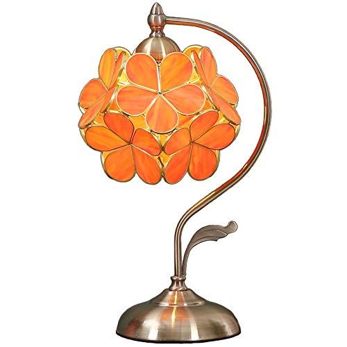 BIEYE L30753 Lámpara de mesa estilo vitral estilo flor de cerezo con pantalla de 21 cm de ancho Base de latón vintage, 42 cm de alto (naranja)
