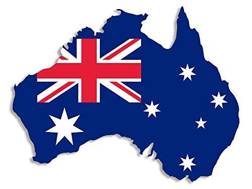 JR Studio 3x5 inch Australia Shaped Australian Flag Sticker - Decal Shape Aussie Shape oi Vinyl Decal Sticker Car Waterproof Car Decal Bumper Sticker