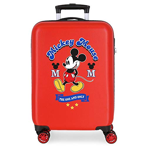 Disney Have a good day Mickey Valise Trolley Cabine Rouge 37x55x20 cms Rigide ABS Serrure à combinaison 34L 2,6Kgs 4 roues doubles Bagage à main