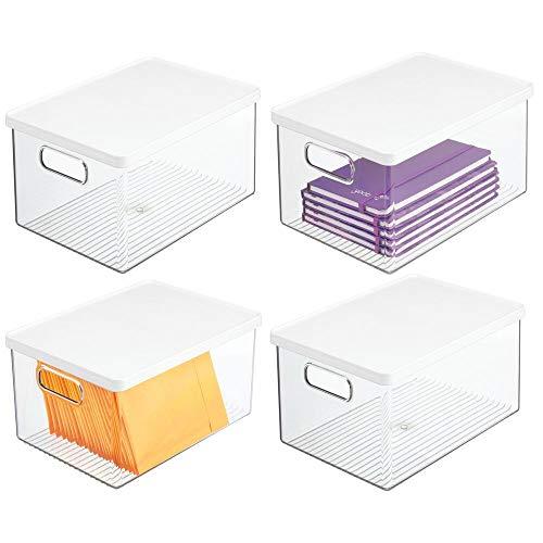 mDesign Juego de 4 cajas de almacenamiento para bolígrafos y más – Organizador de escritorio con asas y tapa de plástico resistente – Caja rectangular para material de oficina – transparente/blanco