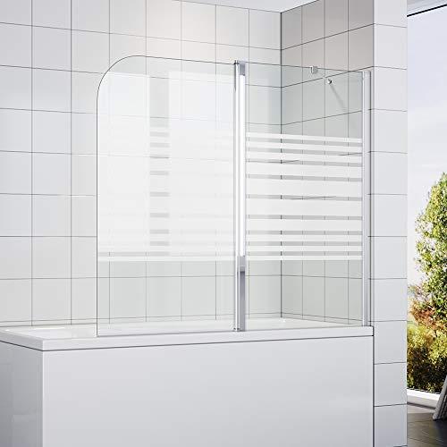 SONNI Duschtrennwand 120x140cm (BxH) Milchglas Streifen mit Stabilisator,Duschwand Badewannenaufsatz, Duschwand für badewanne