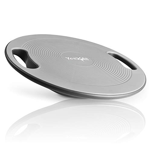 Yes4All Wobble Balance Board – Exercise Balance Stability Trainer for Physical Therapy, Standing Desk (Silver)