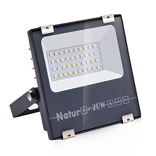20W LED Foco Exterior de alto brillo,2000LM Impermeable IP66 Proyector Foco LED, Iluminación de Seguridad, 6000K Blanco Frío para Pared,Patio, Camino, Jardín [Clase de eficiencia energética A++]
