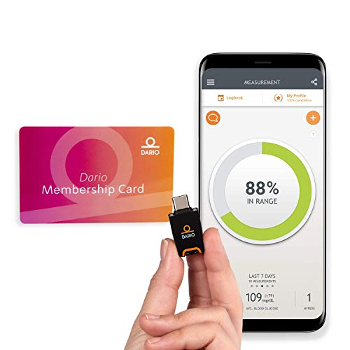 Dario Value Pack Kit: Blood Glucose Monitoring Set. Test Blood Sugar on Android Smartphone. Kit for Diabetes: Glucose Meter All-in-One Device + 12 Months Auto-Shipped Test Strips (Android USB-C)