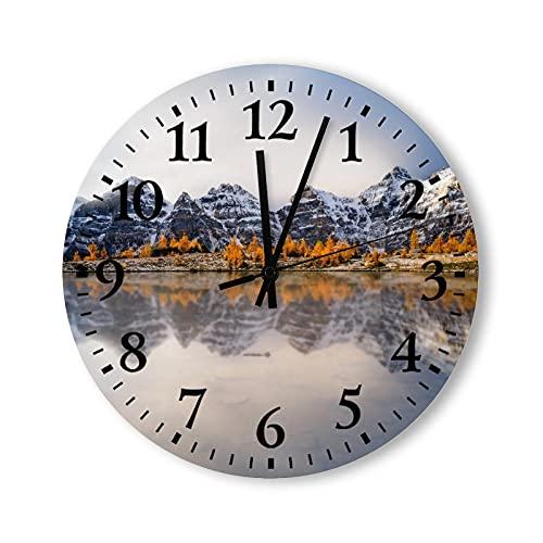 Reloj de pared de madera rústico de 30,5 cm, superficie similar al espejo del lago, reflexionando relojes decorativos para paredes, moderno, para cocina, dormitorio, baño, sala de estar