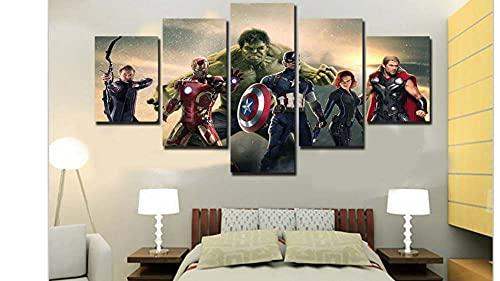KOPASD 5 Piezas Pintura De Pared Sala De Estar De Arte Superhéroe HD Print De Decoración para El Hogar para (Enmarcado Tamaño 150x80cm)