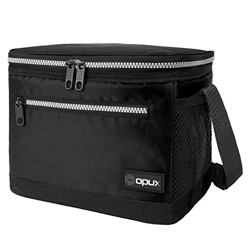 OPUX Premium Lunch Box, Insulated Lunch Bag for Men Women Adult | Durable School Lunch Pail for Boys, Girls, Kids | Soft Leakproof Medium Lunch Cooler Tote for Work Office | Fits 8 Cans (Black)
