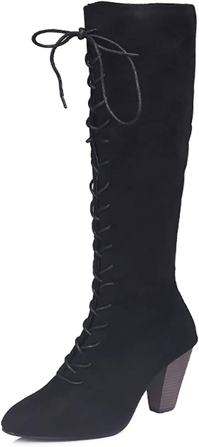 V-DOTE Women's Chunky Heel Lace Up Knee High Boots