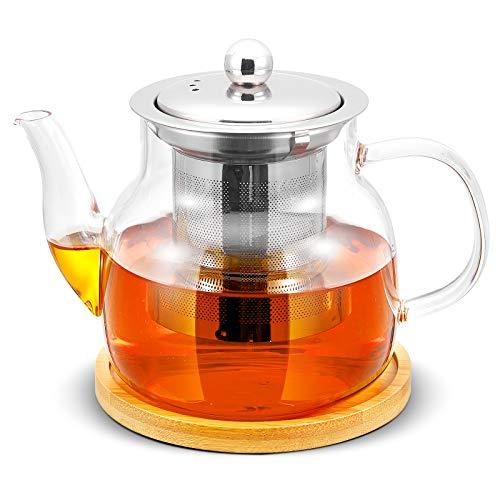 Glass Teapot Kettle with Stainless Steel Infuser for Blooming Tea & Loose Leaf Tea, Stovetop Safe & Microwave Safe Tea Pot Maker Set, Bonus Tea Kettle Coaster, 700mL/24oz