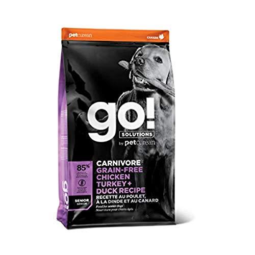 GO! SOLUTIONS Carnivore Grain Free Chicken, Turkey + Duck Senior Recipe (22 lb.)