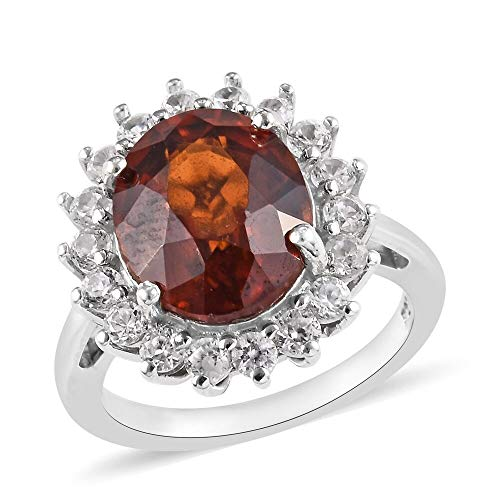 TJC Halo Platinum Plated 925 Sterling Silver Ring for Women Garnet Cambodian Zircon Size O, 6.75 Ct