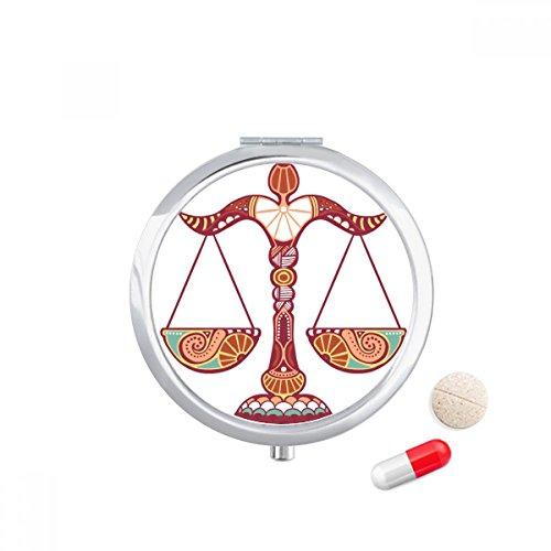 DIYthinker Weegschaal Constellatie Zodiac Symbool Reizen Pocket Pill case Medicine Drug Storage Box Dispenser Spiegel Gift