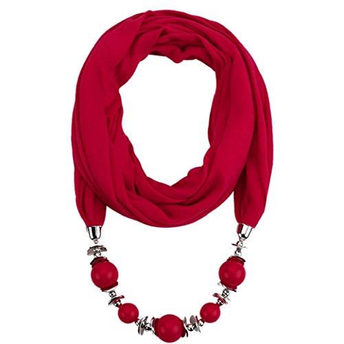 Pendientes De La Bufanda del Collar De Bohemia Collares De Joyería De Mujeres De Poliéster Bufandas Pendientes Wrap Foulard Accesorios Mujer (Vino Tinto)