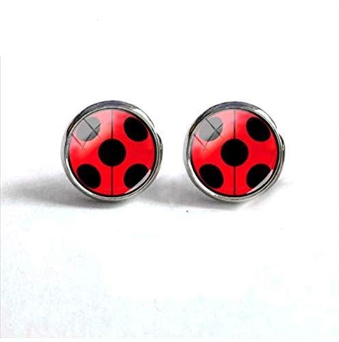 Ladybug pendientes redondos, bonitos pendientes, joyería de cristal para niños, pendientes de cabujón