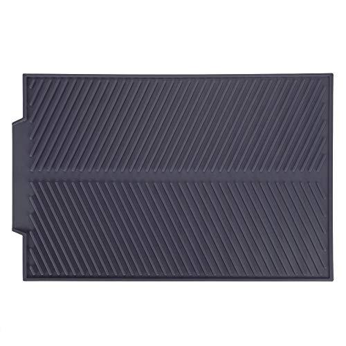 Tappetino di scarico , Piatti Asciugatura Rettangolo del Silicone Pad Spessore Antiscivolo Resistente al Calore con Scanalature Profonde(Grey)