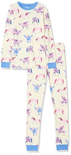 Hatley Mädchen Organic Cotton Long Sleeve Printed Pyjama Sets Zweiteiliger Schlafanzug, Weiß (Mystic Unicorns 100), 8 Jahre