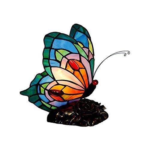 Lámpara de Mesa, Cristal Manchada Lámpara Lámpara de vidrieras, lámparas de mesa Mesa de lámpara Luz nocturna para dormitorio, Home Art Deco, decoración de vidrieras hecha a mano Luz de mariposa luz L